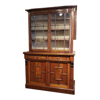 Antique Mahogany Bookcase Over Cabinet C.1890s For Sale