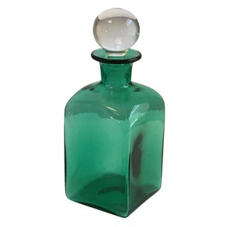 Vintage Blown Green Glass Decanter