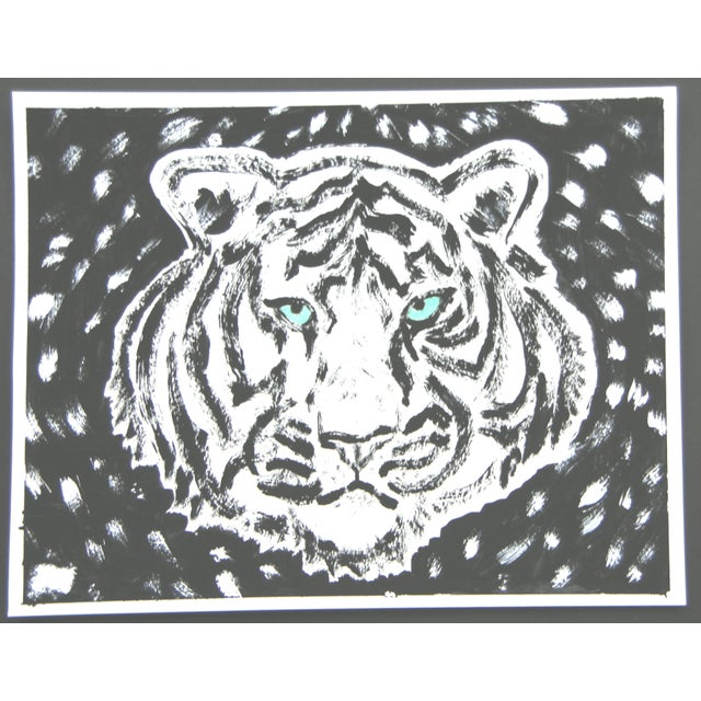 A minimalist white tiger portrait with green eyes eyes in black and white. Abstract Chinoiserie. Safari big cat. Gouache...