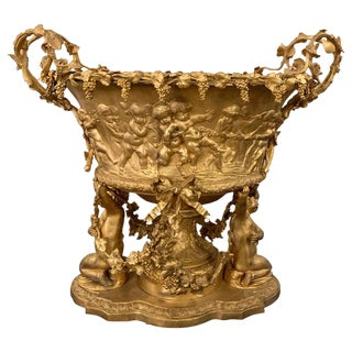 1960s Large Doré Bronze Cherub Centerpiece Jardinière or Wine Cooler For Sale