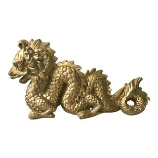 Large Serpentine Vintage Gilded Plaster Chinese Dragon Figure