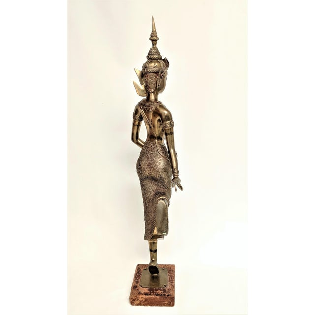 Asian Thai Goddess Brass Sculpture For Sale - Image 3 of 13