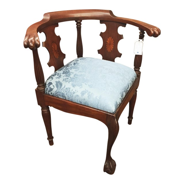 Victorian Ornate Wood Blue Corner Chair - Image 1 of 9