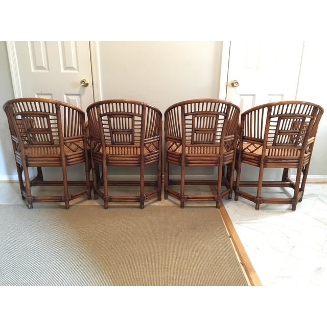 Brighton Pavilion 1970s Hollywood Regency Brighton Pavilion Style Bamboo Dining Set - 5 Pieces For Sale - Image 4 of 12