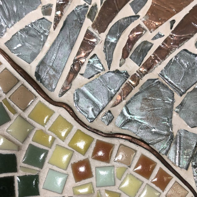 1960s Vintage Tile Glass and Copper Encased Mosaic Wall Hanging For Sale - Image 4 of 12