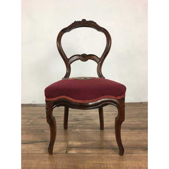 Red Victorian Style Vintage Carved Wood Side Chair For Sale - Image 8 of 8
