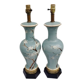 Vintage 1960s Japanese Hand Painted and Brass Lamps - a Pair For Sale