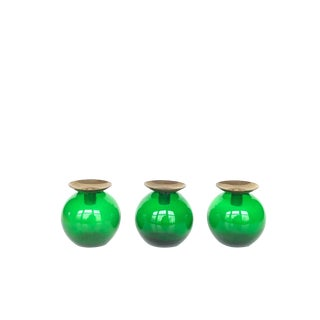 Mid Century Modern Gunnar Ander Green Glass Candle Holders- 3 Pieces For Sale
