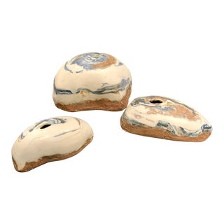 Rock Pottery Bud Vases- Set of 3 For Sale