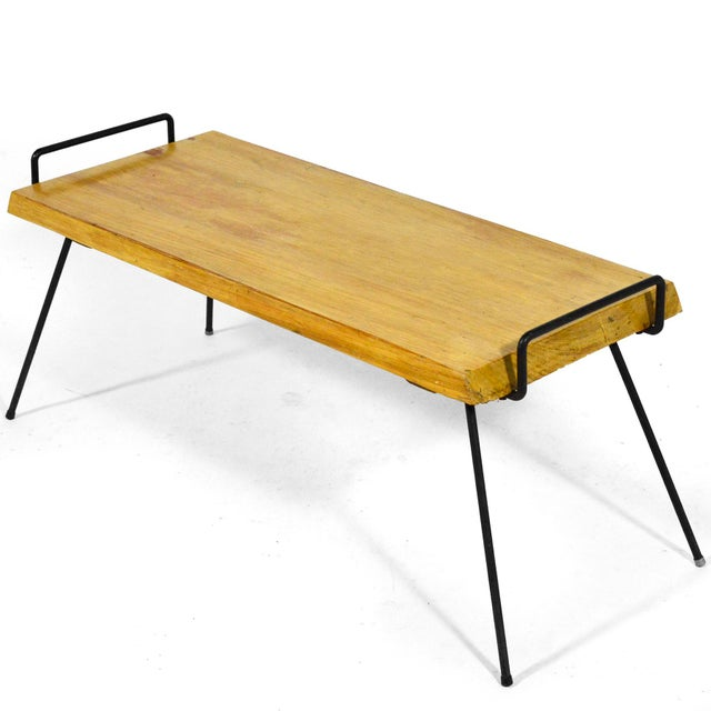 Wood Bench / Table With Iron Legs For Sale - Image 11 of 11