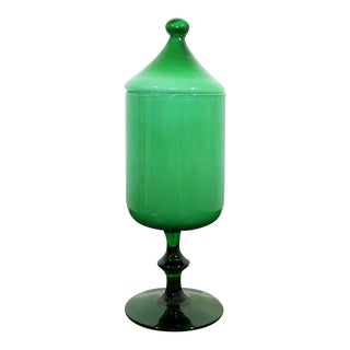 Mid Century Modern Empoli Green Glass Circus Tent Covered Vessel Italy 1960s For Sale