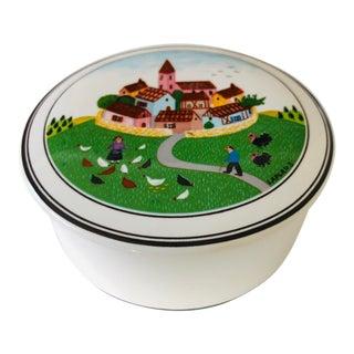 1980's Villeroy & Boch Design Naïf Round Porcelain Trinket Box For Sale