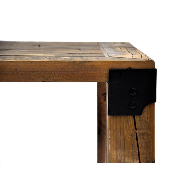 Reclaimed Handmade European Imported Industrial Wood Coffee Table by DARVO For Sale In New York - Image 6 of 6