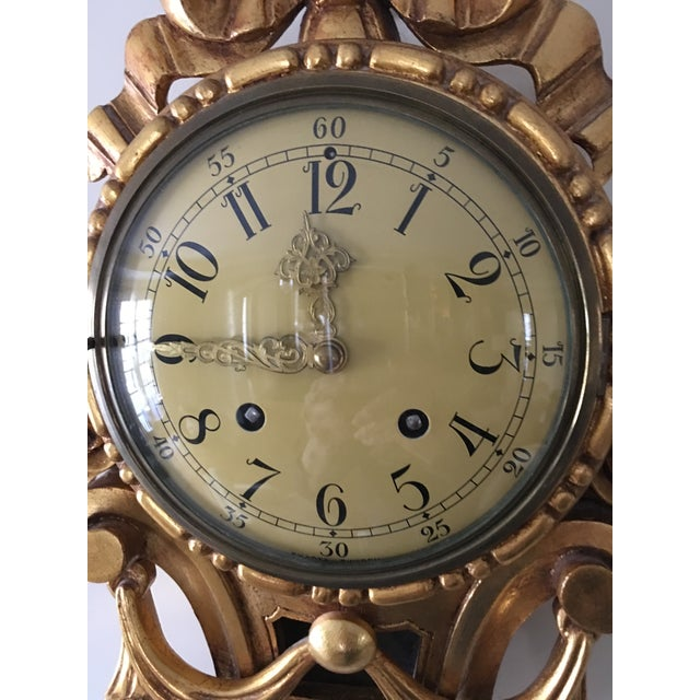French 19th Century Craved Gold Leaf Wall Clock For Sale - Image 3 of 7