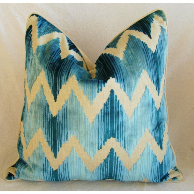 "Boho Chic Chevron Flamestitch Cut Aqua Velvet Feather/Down Pillows 24"" Square - Pair For Sale In Los Angeles - Image 6 of 15"