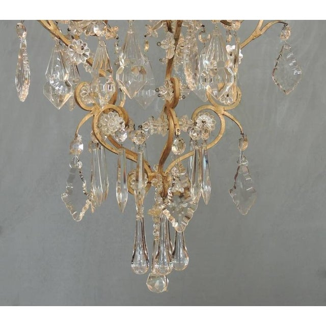 Early 20th Century Small Early 20th C French Neoclassical Brass and Crystal Chandelier Lantern For Sale - Image 5 of 7
