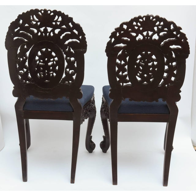 Blue Superb Set of Four 19th Century Anglo-Indian Side Chairs For Sale - Image 8 of 11