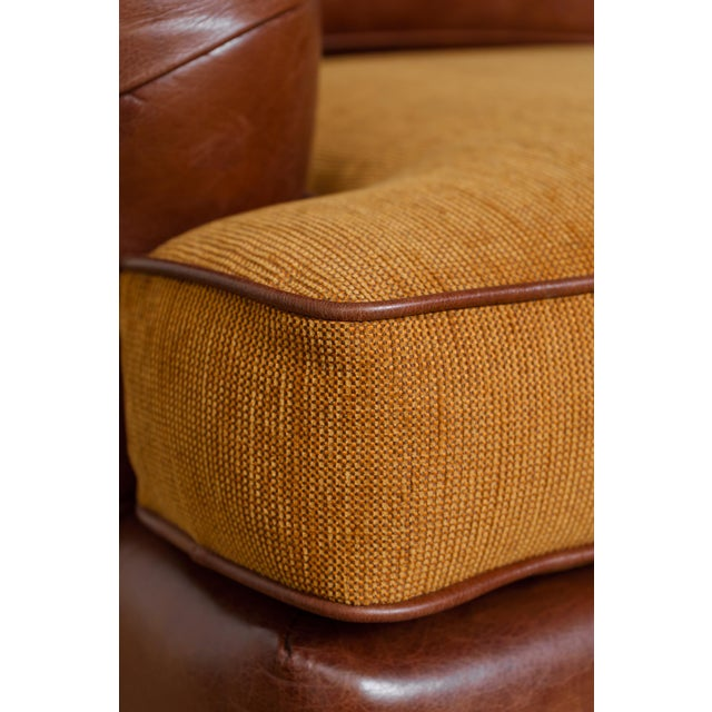 English Rolled Arm Sofa With Genuine Leather For Sale - Image 9 of 10