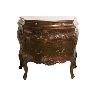 "Vtg French Louis XV Style Walnut Bombe Commode/Chest 31.5"" W by 28..25"" H For Sale"