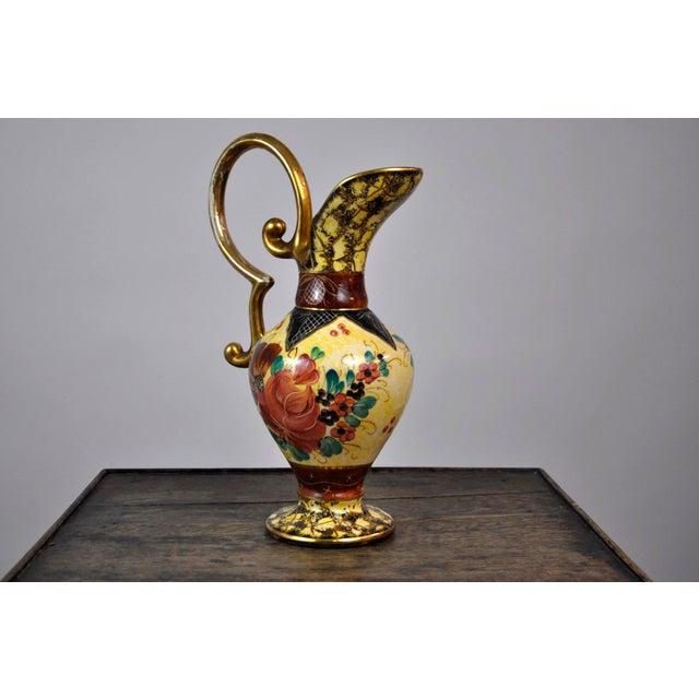 Vintage Ceramic Ewer Amphora Pitcher Vase Belgian Hand Painted