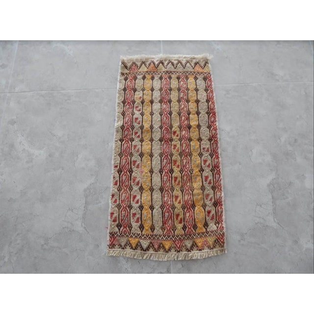 Masterwork Hand-Woven Rug Braided Small Kilim 12.5'' X 28.3'' / 32x72cm Hand woven with high quality pure wool Excellent...