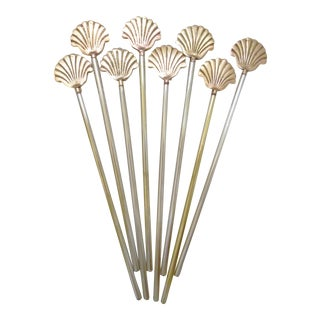 Vintage Brass Shell and Aluminum Swizzle Sticks Drink Stirrers - Set of 8 For Sale