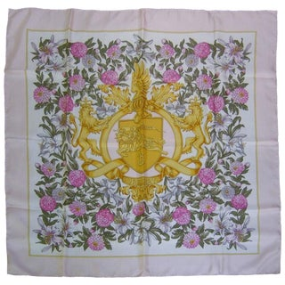 Burberry's Regal Lions Silk Floral Scarf C 1990 For Sale