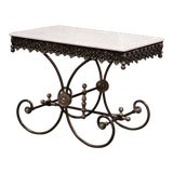 Image of Polished French Iron Butcher or Pastry Table With Marble Top and Metal Finials For Sale