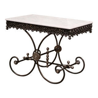 Polished French Iron Butcher or Pastry Table With Marble Top and Metal Finials For Sale