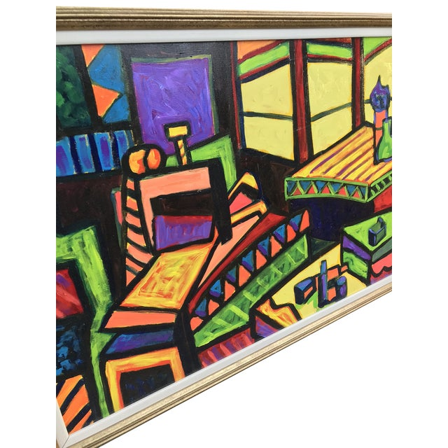 This large scale abstract acrylic painting is vibrant and colorful. Displayed in a gold accented wood frame. Signed lower...