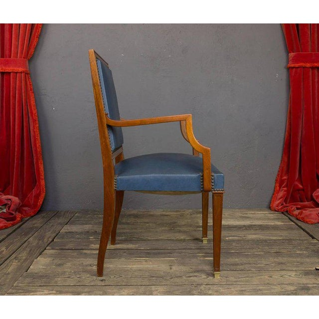 French Pair of French, 1940s Mahogany and Leather Armchairs For Sale - Image 3 of 10