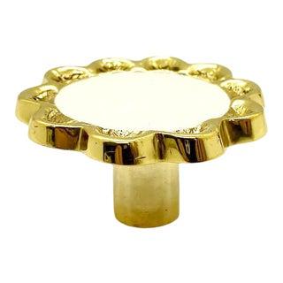 Addison Weeks Michelle Nussbaumer Large Enamel Knob, Brass & White For Sale