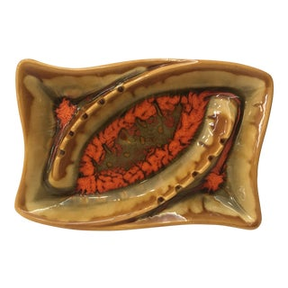 Gold & Orange Ceramic Art Studio Ashtray For Sale