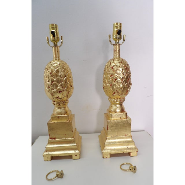 Vintage Pineapple Lamps in Gold Leaf - a Pair For Sale - Image 4 of 7