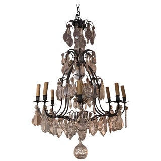 French Louis XVI Style Crystal and Iron Eight-Light Chandelier, 19th Century For Sale