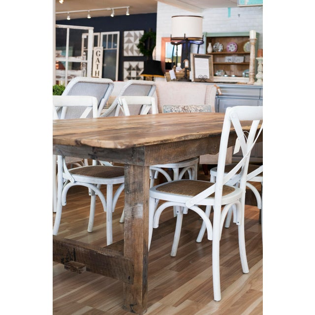 Coffee Custom French Farmhouse Dining Table of Reclaimed Barn Wood. For Sale - Image 8 of 10