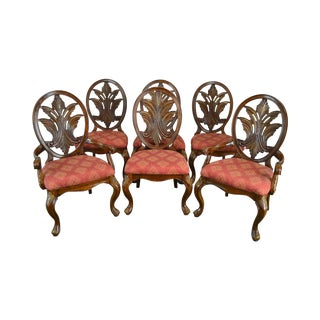 Bassett French Rococo Style Carved Back Set 6 Dining Chairs For Sale
