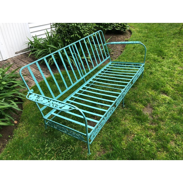 Russell Woodard Vintage Woodard Style Blue Wrought Iron Sofa With Harvest Motif For Sale - Image 4 of 9