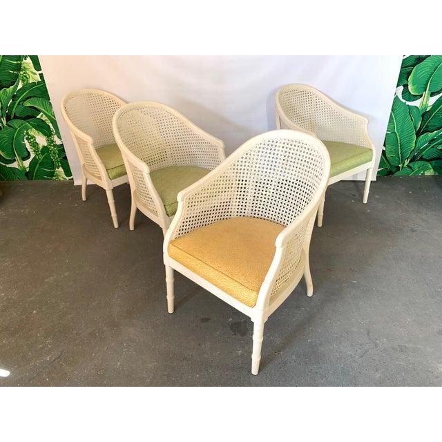 Vintage Cane Back Barrel Chairs, Set of Four For Sale - Image 9 of 9