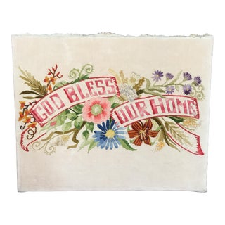 "Vintage ""God Bless Our Home"" Floral Stitch Art"