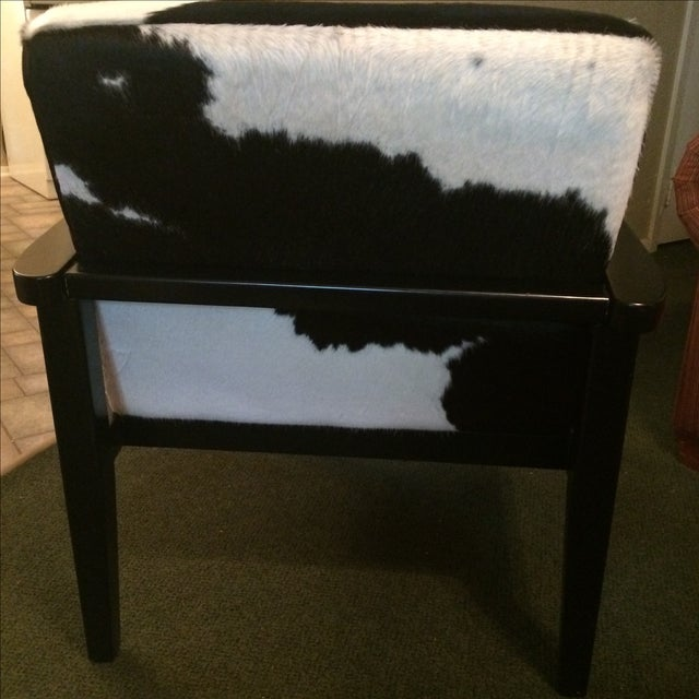 Mid-Century Genuine Cowhide Accent Chair & Ottoman - Image 5 of 11