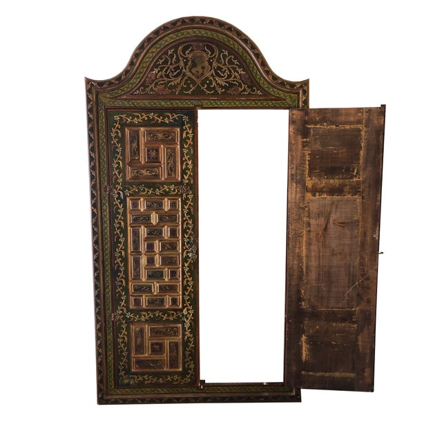 Islamic 1940s Vintage Hand-Painted Ottoman Style Wood Panel / Door For Sale - Image 3 of 10