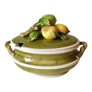 Vintage Italian Ceramic Lemon Finial Tureen For Sale