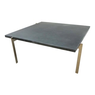 1950s Mid-Century Modern Poul Kjaerholm Coffee Table With Slate Top For Sale