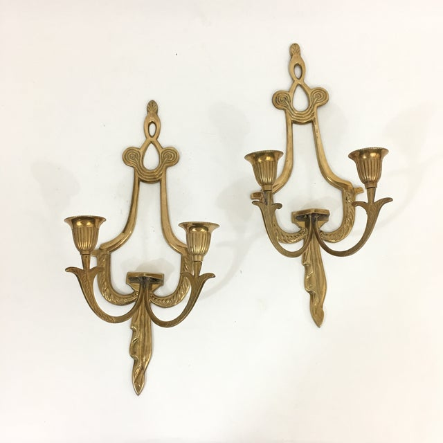 Brass Neoclassical Double Candlestick Sconces - a Pair For Sale - Image 4 of 7