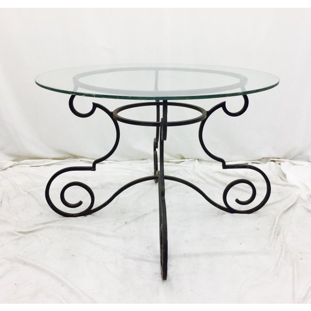 Vintage Wrought Iron & Glass Top Table For Sale - Image 4 of 6