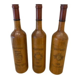 Sarried Wood Wine Bottles - Set of 3 For Sale