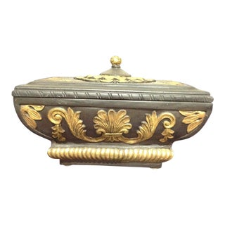 1990s Decorative Crafts Black and Gold Decorative Box For Sale