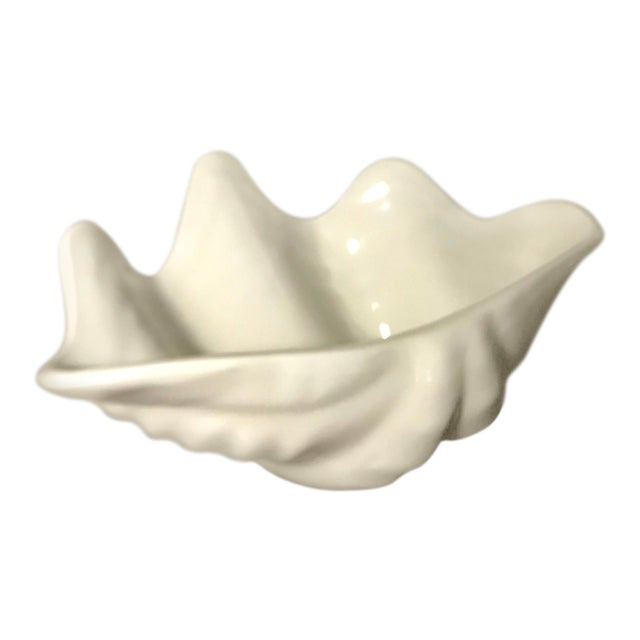 White Blanc De Chine Ceramic Shell Shaped Bowl -Marked Hall For Sale