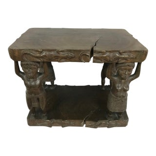20th Century Tribal Single Log Carved Stool For Sale